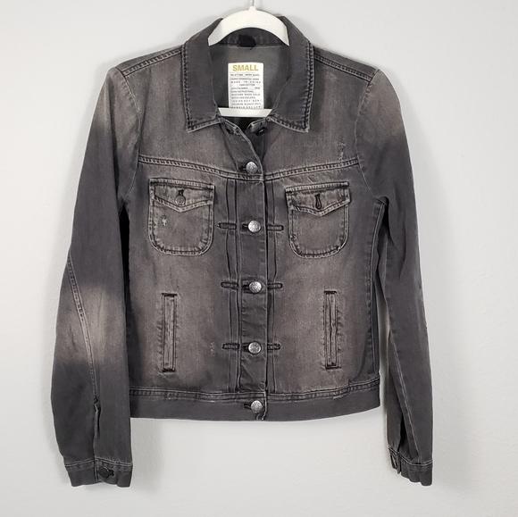 J. Crew Distressed Faded Black Jean Jacket